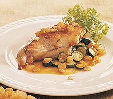 This rabbit recipe takes an interesting twist. The meat is glazed in delicious sweet and sour sauce and adds pine nuts and raisins to the mix for a sensational meal.