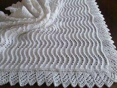 Stunning New Hand Knitted Baby Shawl Blanket 36 x 36 Ins Crochet Baby Shawl, Crochet Blanket Patterns, Baby Knitting Patterns, Baby Patterns, Hand Knitting, Cotton Baby Blankets, Knitted Baby Blankets, Baby Girl Blankets, Christening Blanket