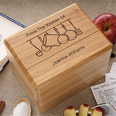 """LOVE this Engraved Wooden Recipe Box! It has a cute """"From the Kitchen of"""" Design and they also have matching personalized recipe cards!"""