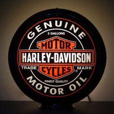 Harley Davidson Motor Oil Gas Pump Advertising Globe / Sign