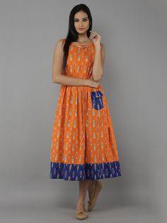 Order contact my whatsapp number 7874133176 Tangerine Ikat Cotton Dress Kurti Neck Designs, Kurta Designs Women, Dress Neck Designs, Blouse Designs, Kalamkari Dresses, Ikkat Dresses, Cotton Frocks, Cotton Dresses, Frock Fashion