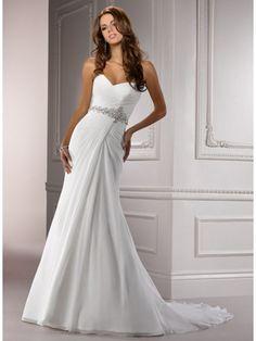 A Line Sweetheart Court Train Chiffon Wedding Dress