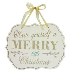 Have Yourself a Merry Little Christmas Hanging Wall Sign Flocked - Wondershop Christmas Text, Merry Little Christmas, Christmas Signs, All Things Christmas, Christmas Diy, Reindeer Christmas, White Christmas Tree Decorations, Ribbon On Christmas Tree, Christmas Tree Ornaments