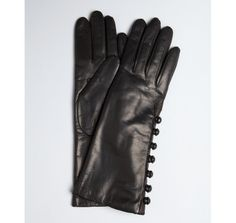 Portolano black leather button detail cashmere lined gloves
