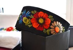 Textile belt with handmade embroidery from Muhu Island