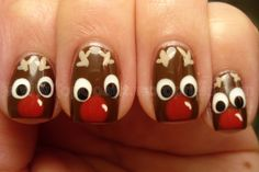 Rudolph Nails ~ Only use red on one of the nails. Rest will be black for the other 8 reindeer. Accent nail will be red nail w/Santa's black belt and silver buckle. Christmas Manicure, Holiday Nail Art, Xmas Nails, Christmas Nail Designs, Christmas Nail Art, Fun Nails, Christmas Crafts, Rudolph Christmas, Christmas Ideas