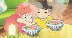 Ponyo eating ham.gif