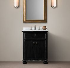 """Carrera marble vanity, 26"""" (small) with black finish."""