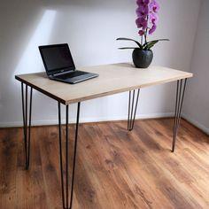 Modern Minimal Plywood Desk with Vintage Mid-Century. Metal Hairpin Legs.