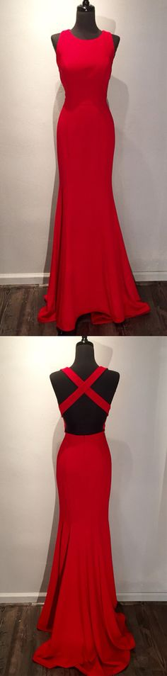 2018 prom dress, red long prom dress, mermaid long prom dress, formal evening dress graduation dress, simply elegant prom dress
