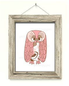Cute pink and brown owl for a nursery or child's bedroom. Suitable for woodland, animal, barnyard themes. by picksngiggles on Etsy