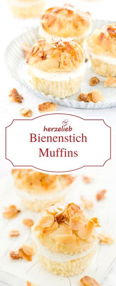 Recipe for delicious bee sting muffins - cupcakes- Rezept für leckere Bienenstich-Muffins – kleine Kuchen Recipe for delicious bee sting muffins – cake in its best! Cupcake Recipes, Baking Recipes, Cookie Recipes, Dessert Recipes, Dinner Recipes, Food Cakes, No Bake Desserts, Easy Desserts, Cheesecake Brownie
