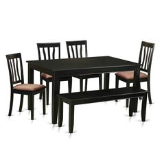 Shop for Black Rubberwood Kitchen Nook Dining Set Including Dinette Table and 4 Dining Room Chairs and Bench. Get free delivery On EVERYTHING* Overstock - Your Online Furniture Shop! Get in rewards with Club O! Black Dining Room Furniture, 4 Dining Chairs, Nook Dining Set, Dining Room Sets, Kitchen Chairs, Living Furniture, Dining Bench, Wood Chairs, Furniture Design
