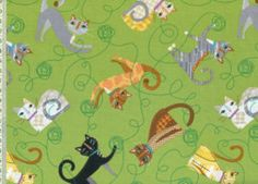 Cats and yarn fabric
