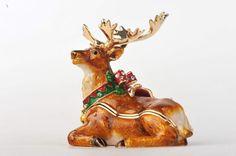Christmas Reindeer Faberge Styled Trinket Box Handmade by Keren Kopal Enamel Painted Decorated with Swarovski Crystals