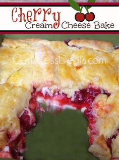 CLICK AND SEE THE PIC. **Cherry Cream Cheese Bake** 1 can cherry pie filling 8 oz cream cheese, room temperature cup powdered sugar 1 tube crescent rolls stick of butter 2 tbsp vanilla cup granulated sugar Instructions Preheat the oven to 375 degrees. Cherry Cream Cheese Bake Recipe, Cream Cheese Desserts, Cream Cheeses, Köstliche Desserts, Delicious Desserts, Dessert Recipes, Yummy Food, Pie Dessert, Plated Desserts