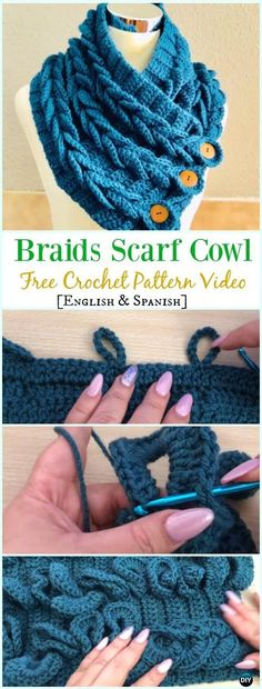 diy_crafts-Crochet Braid Scarf Cowl Free Pattern Video – Crochet Cowl & Infinity Scarf Free Patterns We are want to say thanks if you like to share Col Crochet, Cardigan Au Crochet, Crochet Cowl Free Pattern, Gilet Crochet, Crochet Gratis, Crochet Scarves, Crochet Shawl, Crochet Yarn, Knitting Patterns Free