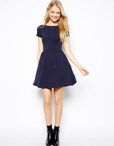 Image 4 of ASOS Skater Dress With Slash Neck And Short Sleeves $37