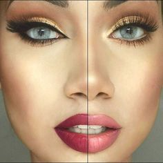 How to take your makeup from day to night. Right (Daytime look) : Wearing…