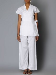 White Chikankari Embroidered Angrakha Cotton Tunic