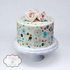 Handpainted cake to match partyware!  #handpaintedcake #pastelcake #bridalshowercake #babyshowercake #showercake #paintedcake #peggydoescake