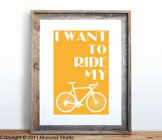 I Want to Ride My Bicycle Small Screenprint Choose your color. $12.00, via Etsy. - kids bathroom