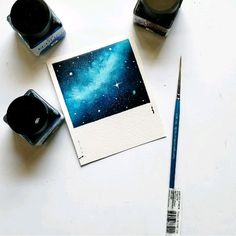 Galaxy Polaroid Watercolor galaxy Polaroid using a princeton brushYou can find Aquarelle painting easy and more on our website.Galaxy Polaroid Watercolor galaxy Polaroid using a pr. Watercolor Galaxy, Galaxy Painting, Galaxy Art, Watercolor Drawing, Easy Watercolor, How To Paint Galaxy, Painting With Watercolors, Night Sky Painting, Watercolour Paintings