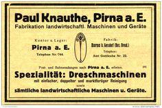Original-Werbung/ Anzeige 1917 - DRESCHMASCHINEN KNAUTHE PIRNA - ca. 160 x 100 mm