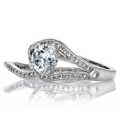 Sterling Silver Round Cubic Zirconia Wedding-style Ring Set