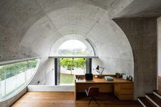 home office by Fabian Tan Kuala Lumpur, Terraced House, Eckhaus, Concrete Interiors, New Staircase, Corner House, Ground Floor Plan, Arched Windows, Architect House
