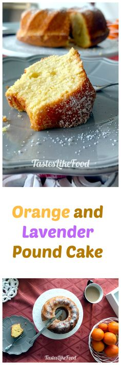 A uniquely flavored and aromatic orange pound cake with a touch of lavender and assorted flower spices. Cake Tasting, Pound Cakes, Boom Boom, Sour Cream, Lavender, Tasty, Treats, Homemade, Snacks