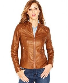 GUESS Quilted-Detail Faux-Leather Moto Jacket