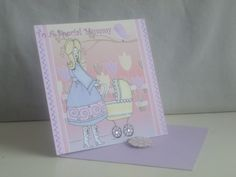 ONE DAY SALES ITEM 14th MARCH Handmade Special Mummy with Pram  Easel Card by Dees Designs