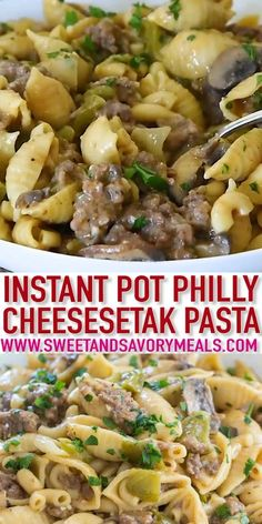 Instant Pot Recipes 34128909663897333 - Instant Pot Philly Cheesesteak Pasta has all the delicious flavors and textures of a juicy Philly cheesesteak in this easy and cheesy pasta dish ready in about 30 minutes. Crock Pot Recipes, Soup Recipes, Cooking Recipes, Chicken Recipes, Chicken Soup, Creamy Chicken, Healthy Chicken, Beef Recipes, Meatloaf Recipes