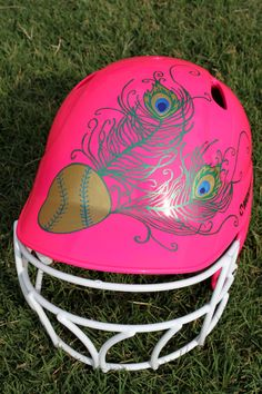 Softball - Peacock Feather Hand Painted Batting Helmet
