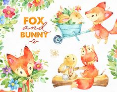 Fox and Bunny 2. Friends and Flowers watercolor animal
