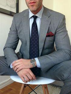 windowpane suit, microstripe shirt, dotted tie