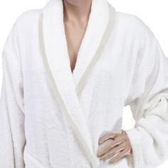 c3c325ad62 TERRY SHAWL WHITE BATHROBE WITH BEIGE PIPING Men s Robes