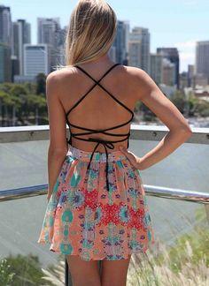 Multi Party Dress - Black Criss Cross Back Dress | UsTrendy