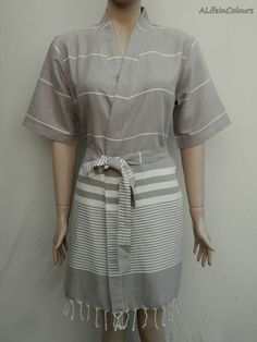 c55a534699 Women s khaki brown colour Turkish cotton light weight short kimono bathrobe