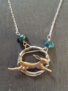 Hare in Hoop with Turquoise