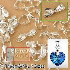 [ 31% OFF ] Wholesale 120Pcs Mix 3 Size 925 Sterling Silver Jewelry Findings Bail Connector Bale Pinch Clasp Pendant 24Hours