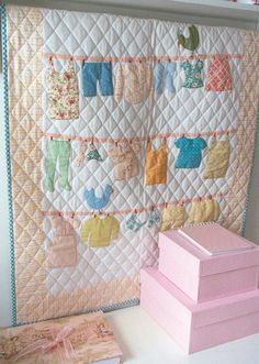 clothes line quilt- Use your babes out-grown outfits