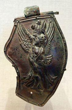 Bronze Cheekpiece of a helmet Roman, late 2nd century CE