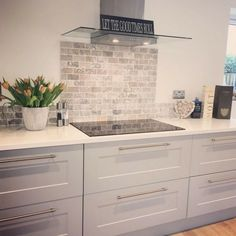 A kitchen splashback is a great way to create a focal point in your living space, just like has done with the beautiful Italiana Gris Brick Mosaic, a stunning travertine tile, enhanced by its soft greys, charcoals and creams creating the u Kitchen Splashback Tiles, Kitchen Cabinets, Splashback Ideas, Brick Tiles Kitchen, Metro Tiles Kitchen, Kitchen Countertops, Brick Style Tiles, Grey Countertops, Kitchen Walls