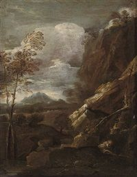 A hermit saint in a rocky landscape by Salvator Rosa