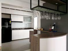 Home Bar Counter With A Minimalist Kitchen #greygridconcept #greygrid  #interior #interiordesign #hdb #singapore #singaporedesign #design #design  #furniture ...