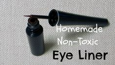 Easy Homemade Non-Toxic Eye Liner. Ingredients: •2 teaspoons coconut oil •4 teaspoons aloe vera gel •1 – 2 capsules of activated charcoal (for black) OR ½ tsp cocoa powder (for Brown)