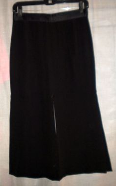 Chanel Boutique Black Maxi Skirt Slits 8 US 42 EUR  Silk France #ChanelBoutique #MaxiGauchoSkirtwithFrontBackSideSlits