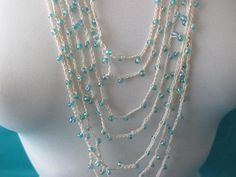 BEADED CROCHET NECKLACE  Light Blue Beads by QuackyQuilts on Etsy